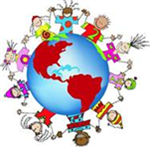 A globe with children of different cultures going around the globe