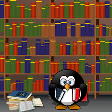 Cartoon of penguin with library books