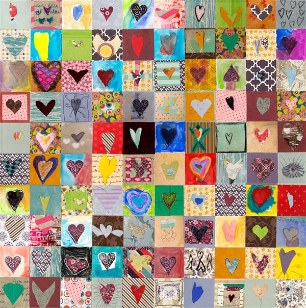 many hearts collage art