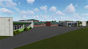 Exterior Rendering of Russell Elementary School