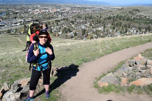 Mrs. Langella and her daughter, Lily, on Mt. Jumbo overlooking Missoula valley.