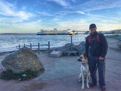 Mr. V.  walking his dog, Baylor in downtown Edmonds