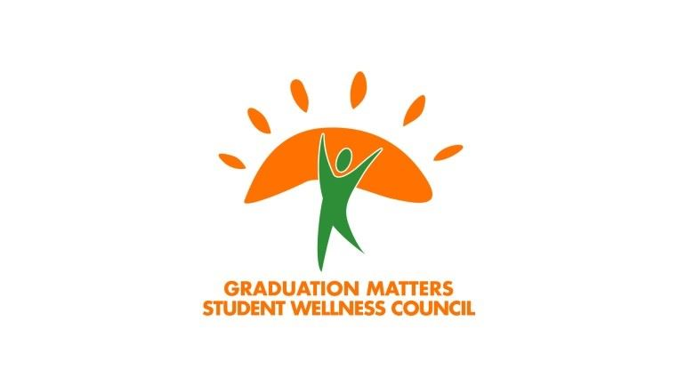 GMM Student Wellness Council Logo with green figure holding up an orange sun.