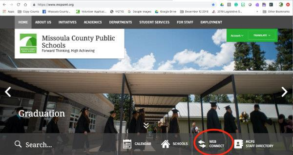 Screen Shot of MCPS website with a red circle around the button Web Connect