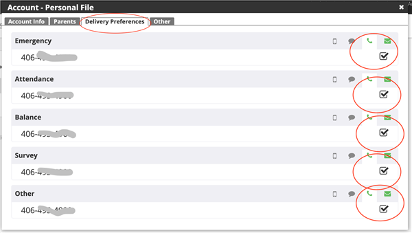 Screen Shot of parent's delivery preferences in Parent Link
