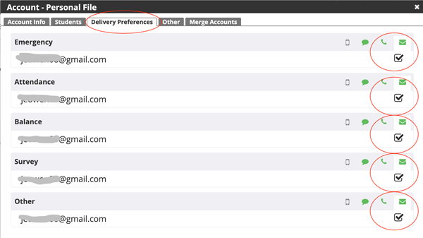 Additional Screen Shot showing more account preferences for parents in ParentLink