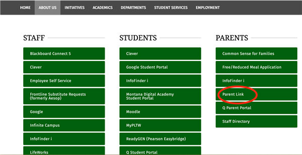 Screen Shot off MCPS website showing the parent web connect links