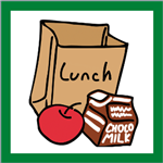 Brown lunch bag with red apple and carton of chocolate milk