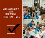 Infographic with a checkmark and two photos of elementary and high school students