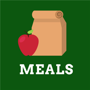Link to Meals webpage - green square with brown lunch sack and red apple