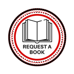 red and black circle with a book and the words request a book
