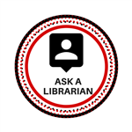 red and black circle with a speech bubble and the words ask a librarian