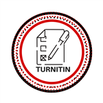 red and black circle with a paper and pen cartoon and the word turnitin