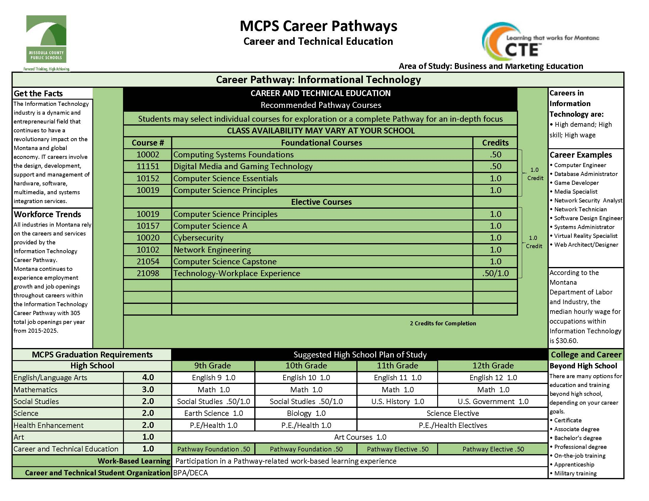 Green chart with Information Technology Pathway